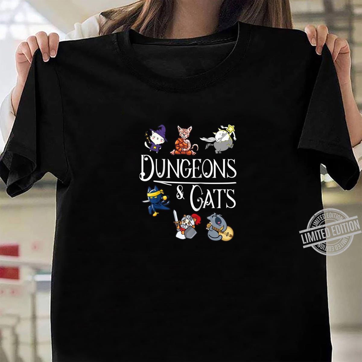 Dungeons and Cats Dragon Cat Kitten Kitty Shirt ladies tee